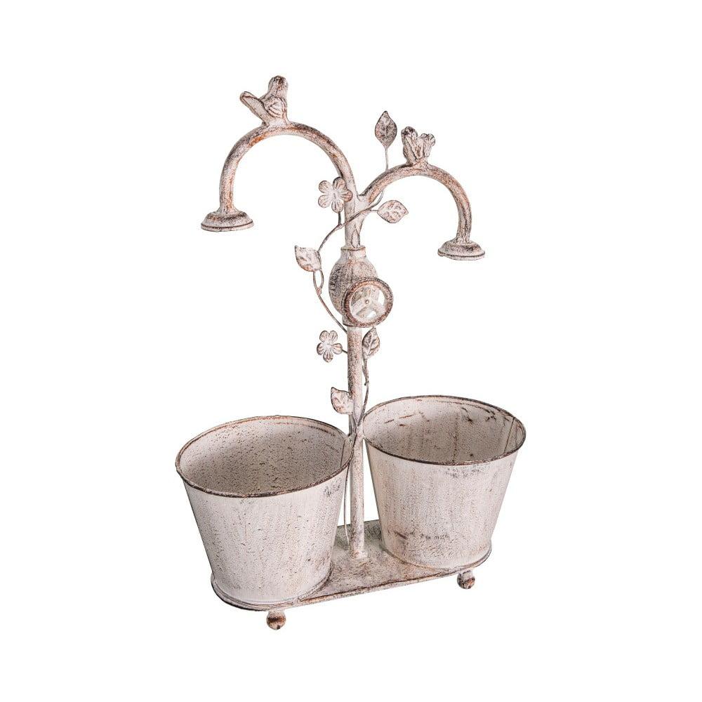 Bílý dvojitý železný květináč Antic Line Bird Pot