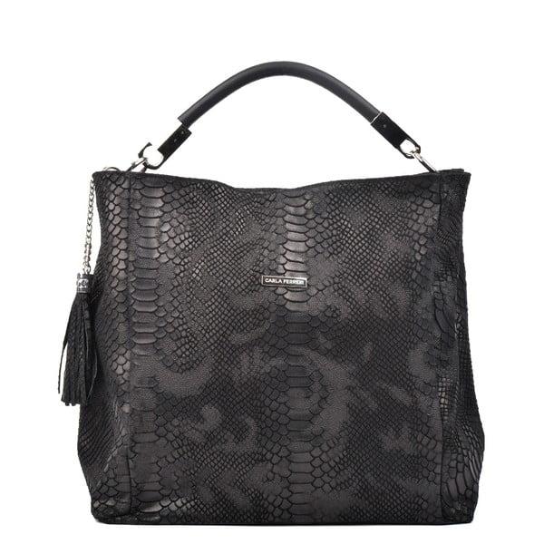 Černá kožená kabelka Carla Ferreri Felice