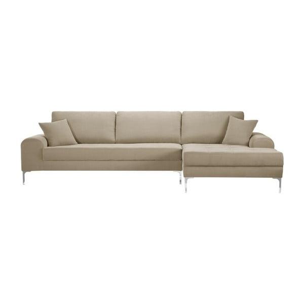 Set canapea taupe cu șezlong pe partea dreaptă, 4 scaune negre și saltea 160 x 200 cm Home Essentials