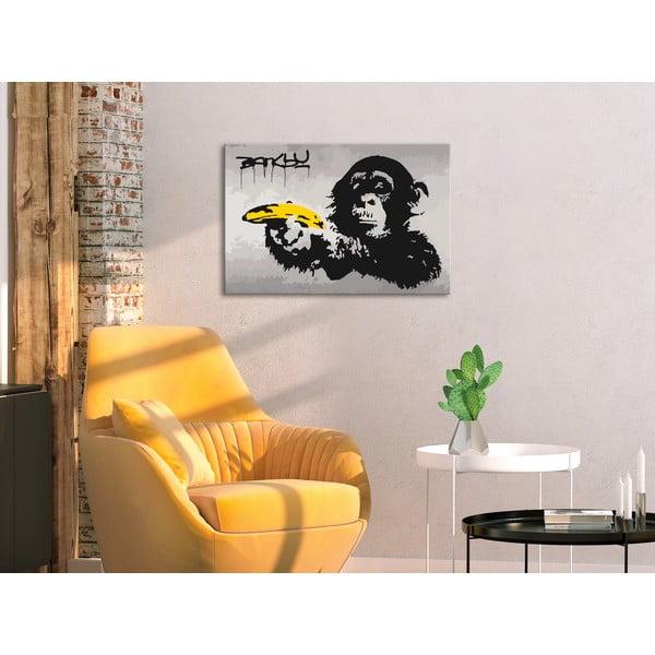 DIY set na tvorbu vlastního obrazu na plátně Artgeist Banksy Street Art, 60x40 cm