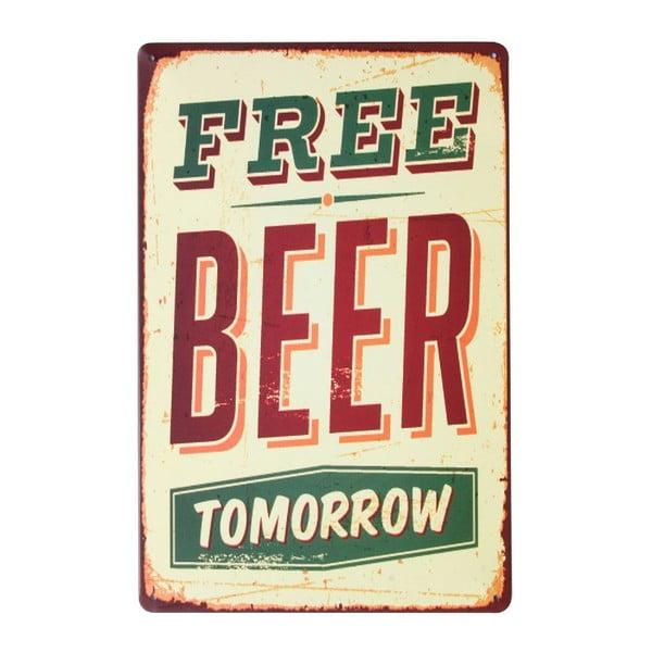 Cedule Free Beer, 20x30 cm