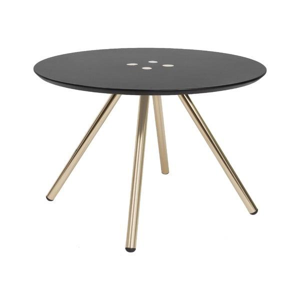 Černý konferenční stolek s pozlacenými nohami Letmotiv Sliced, ø60cm