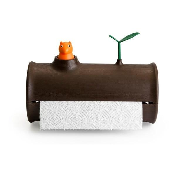 Brązowy stojak na ręczniki papierowe Qualy&CO Log&Roll