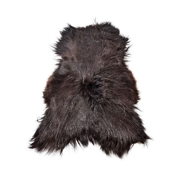 Tmavá ovčí kožešina s dlouhým chlupem, 110x60cm