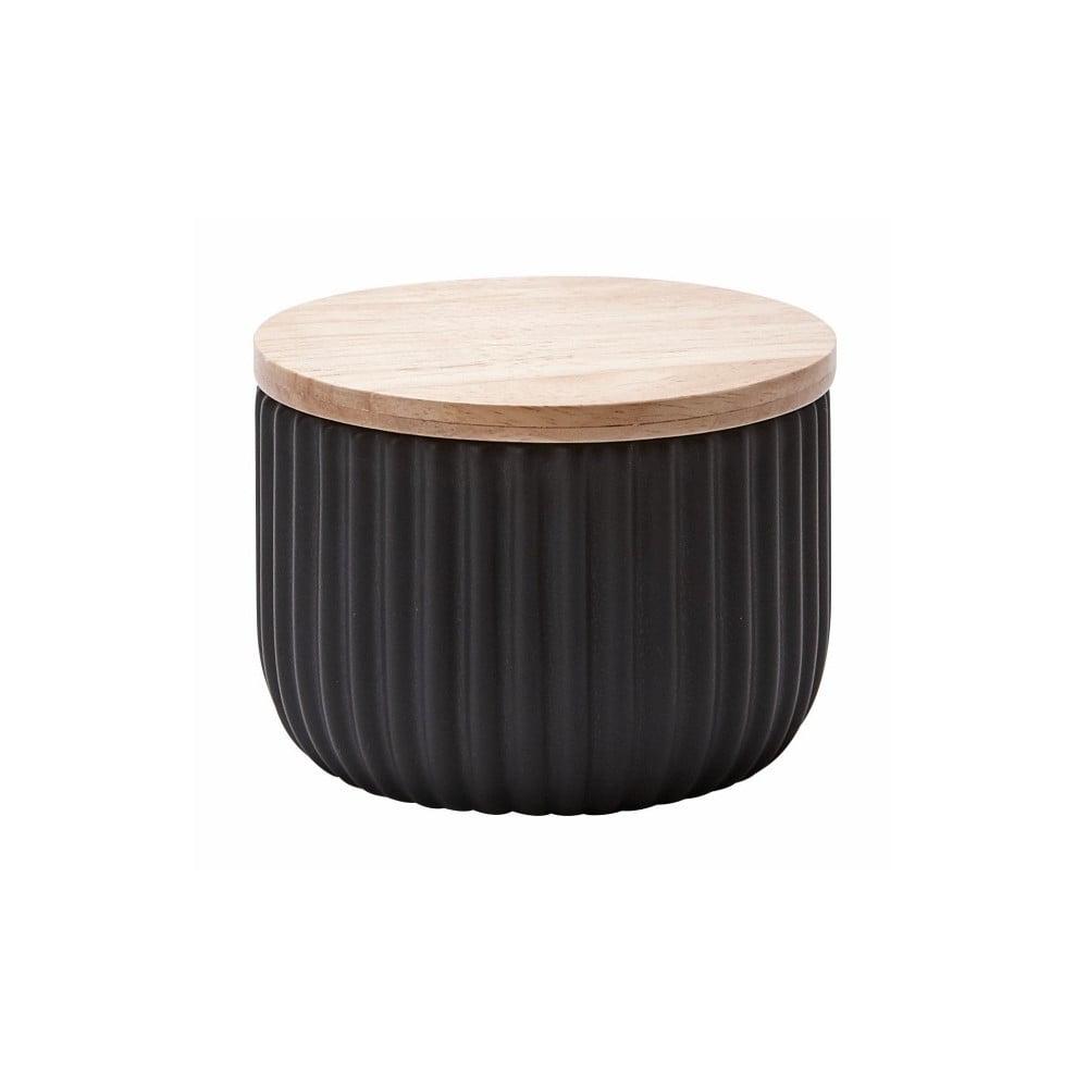 Střední černá dóza s víčkem z dubového dřeva Aquanova Ribba