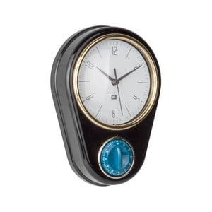 Černé nástěnné hodiny s kuchyňskou minutkou PT LIVING