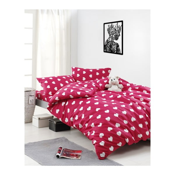 Lenjerie de pat din bumbac ranforce pentru pat de 1 persoană Mijolnir Chole Red, 140 x 200 cm