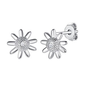 Stříbrné náušnice s pravým diamantem Tess Diamonds Claudia