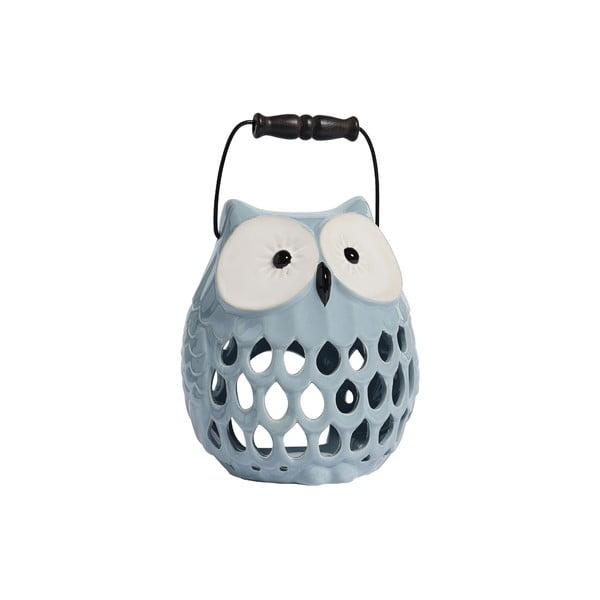 Keramický svícen Owl, světle modrý