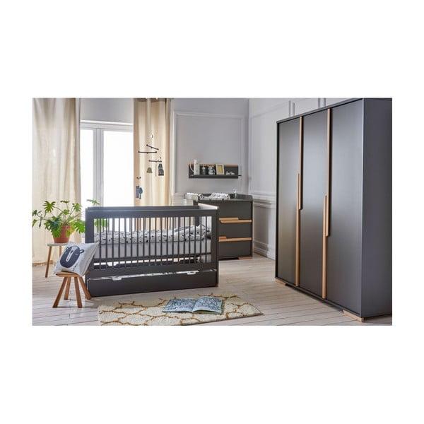 Tmavě šedá dětská šatní skříň Pinio Snap, 145,5 x 195 cm