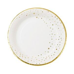 Sada 12 papírových talířků se okrajem zlaté barvy Talking tables Metallics,⌀23cm