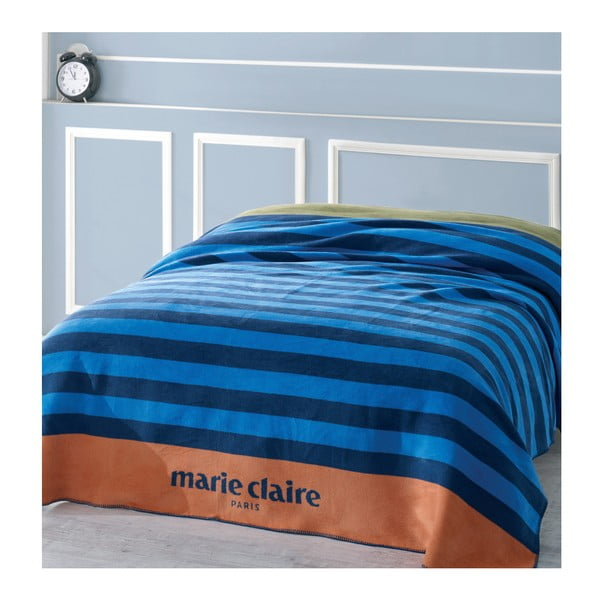 Koc w niebieskie pasy z kolekcji Marie Claire, 200x220 cm