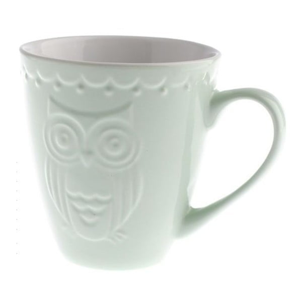 Jasnozielony kubek ceramiczny Dakls Owl, 530 ml