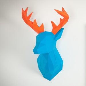 Papírová trofej Jelen, modro-oranžový