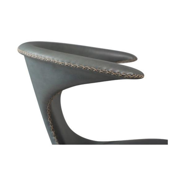 Šedá kožená jídelní židle s kovovým podnožím DAN–FORM Flair