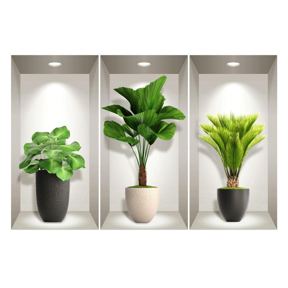 Produktové foto Sada 3 3D samolepek na zeď Ambiance Tropical Plants