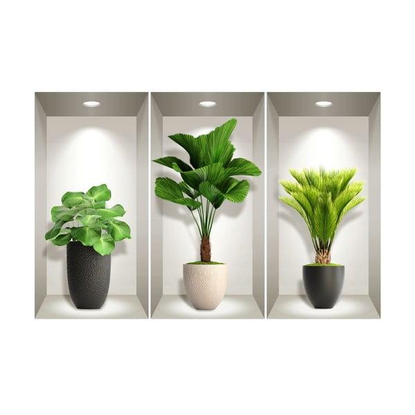 Sada 3 3D samolepek na zeď Ambiance Tropical Plants