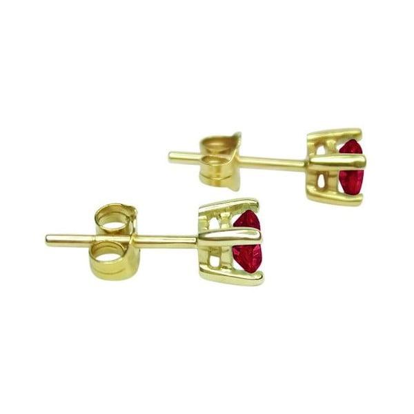 Náušnice Four Prong s rubínem, zlaté