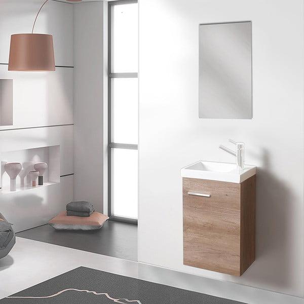 Koupelnová skříňka s umyvadlem a zrcadlem Kai, dekor dubu, 40 cm