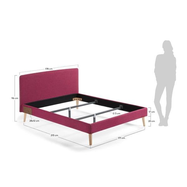 Vínově červená dvoulůžková postel La Forma Lydia, 200x160cm