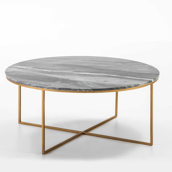 Konferenční stolek s šedou mramorovou deskou Thai Natura,, ∅90cm