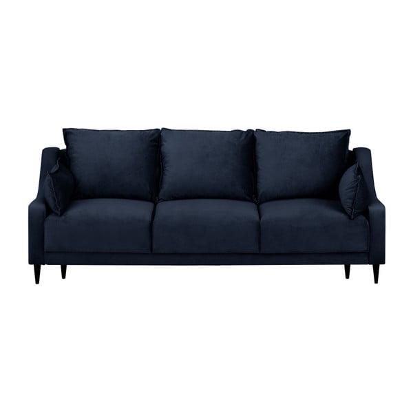 Tmavě modrá třímístná rozkládací pohovka s úložným prostorem Mazzini Sofas Freesia