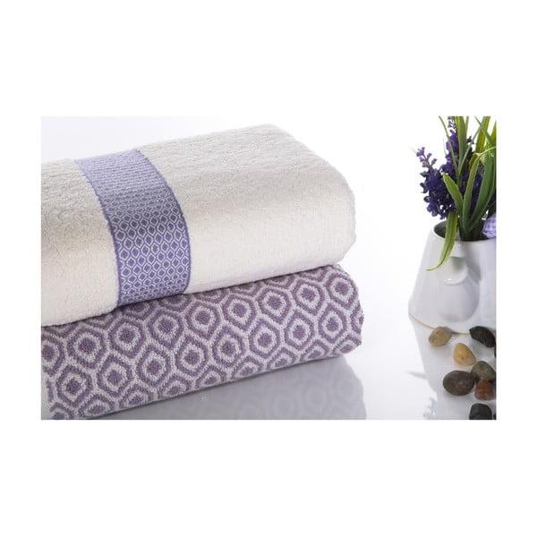 Sada 2 bavlněných fialovo-bílých ručníků Ladik Alice,50x90cm