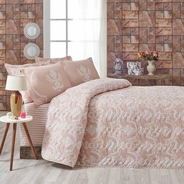Różowa narzuta dwuosobowa z poszewkami na poduszki Livia,200x220cm