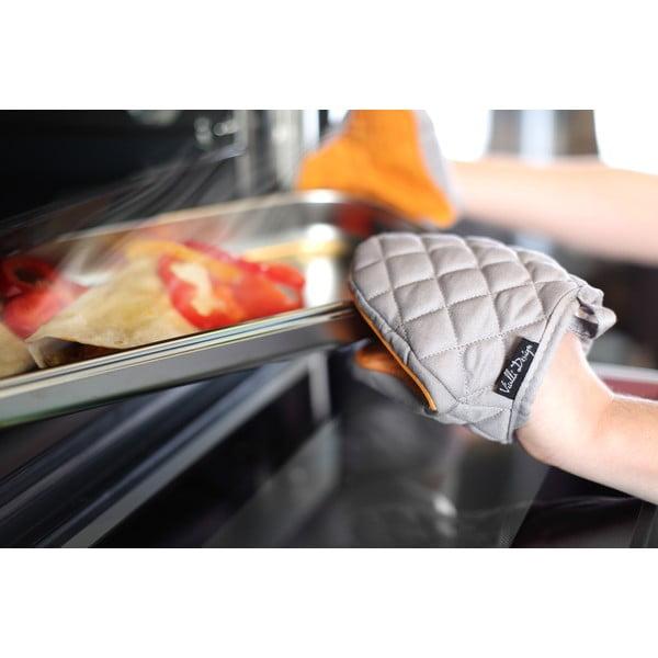 Pomarańczowo-szara bawełniana rękawica kuchenna z silikonem Vialli Design