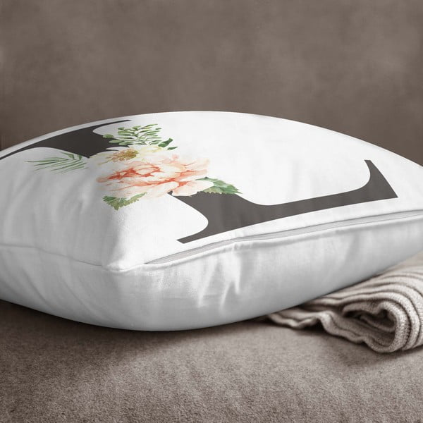 Față de pernă Minimalist Cushion Covers Floral Alphabet L, 45 x 45 cm