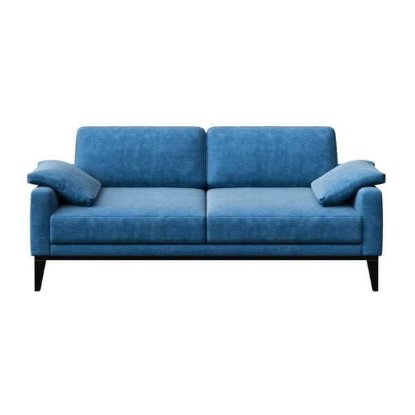 Canapea cu 2 locuri și picioare din lemn MESONICA Musso Regular, albastru