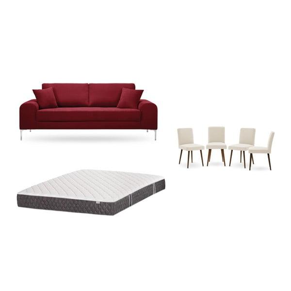 Set canapea roșie cu 3 locuri, 4 scaune crem, o saltea 160 x 200 cm Home Essentials