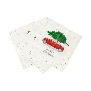 Sada 16 papírových ubrousků Talking tables Car and Tree,25x25cm