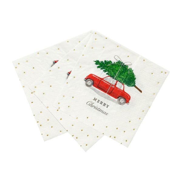 Zestaw 16 serwetek papierowych Talking Tables Car and Tree, 25x25 cm
