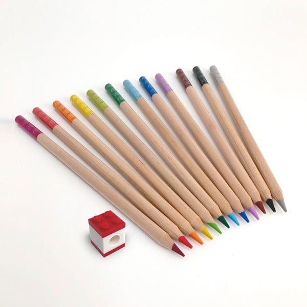 Sada 12 ceruziek s nastavcom v tvare kocky LEGO® Stationery
