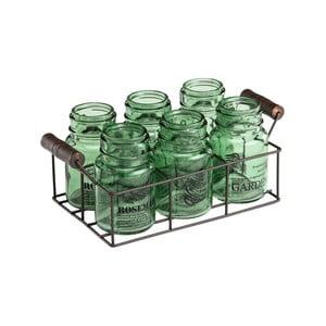 Sada 6 zelených sklenic s kovovým podnosem Ego Dekor Green Way