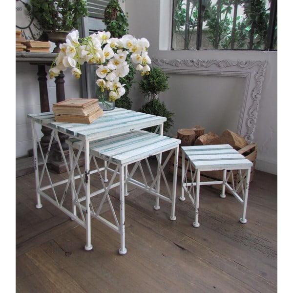 Set 3 stolků White Turquoise