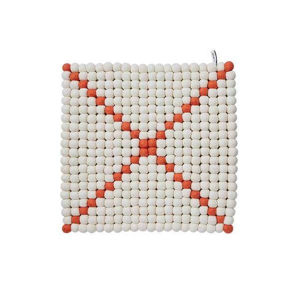 Modulový koberec Wool Mat White/Coral, 40x40 cm