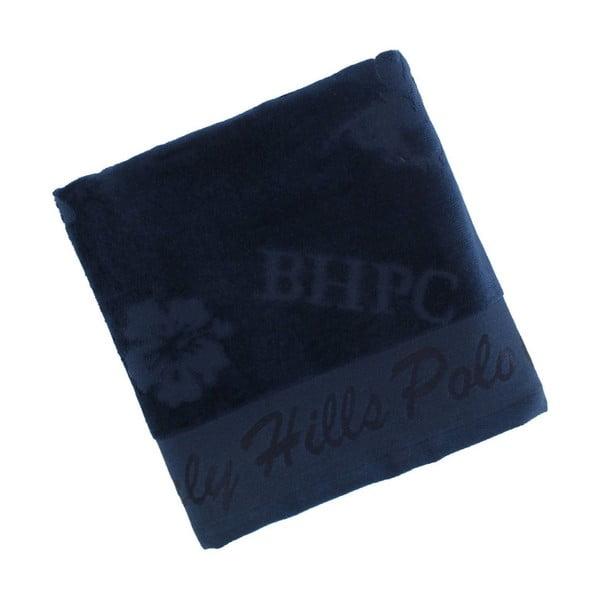Tmavě modrý bavlněný ručník BHPC Velvet, 50x100 cm