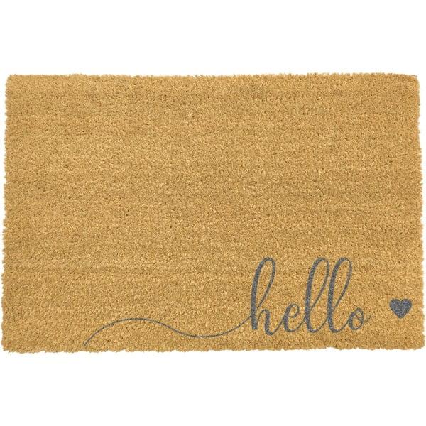 Šedá rohožka z přírodního kokosového vlákna Artsy Doormats Hello Scribble,40x60cm