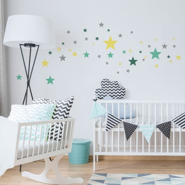 Set 50 autocolante Ambiance Stars Green and Yellow