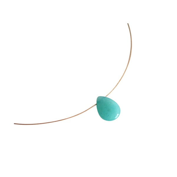 Zlatý náhrdelník Blue Jade Teardrop (jadeit)