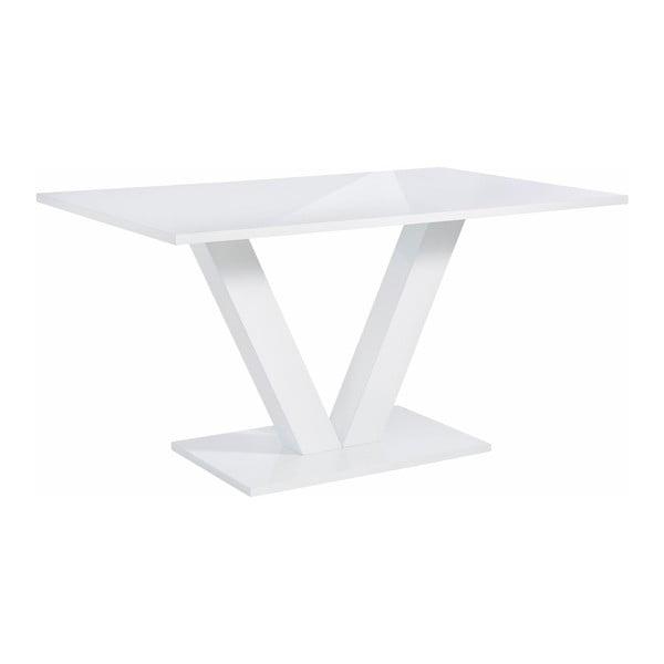 Lesklý biely jedálenský stôl Støraa Allen, 90×140cm