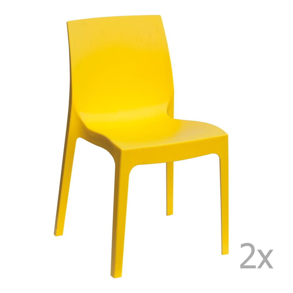 Sada 2 žlutých jídelních židlí Castagnetti Rome