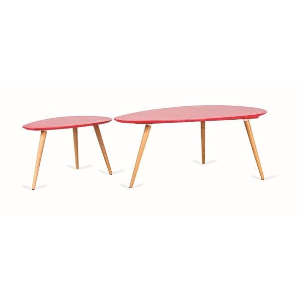Sada 2 červených konferenčních stolků Design Twist Kaoma