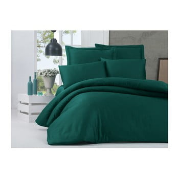 Lenjerie de pat din bumbac satinat și cearșaf Alisa, 200 x 220 cm, verde de la Victoria
