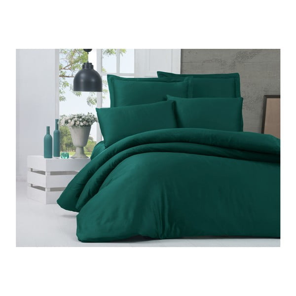 Lenjerie de pat din bumbac satinat și cearșaf Alisa, 200 x 220 cm, verde