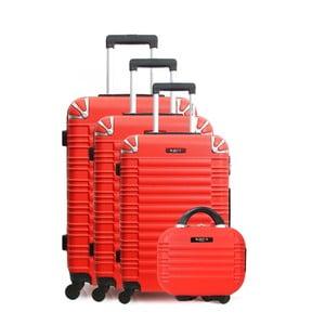 Sada 3 červených cestovních kufrů na kolečkách atoaletního kufříku Bluestar Vanity