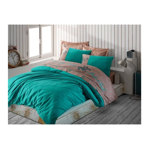 Lenjerie din bumbac satinat pentru pat dublu Smaragd, 200x220cm