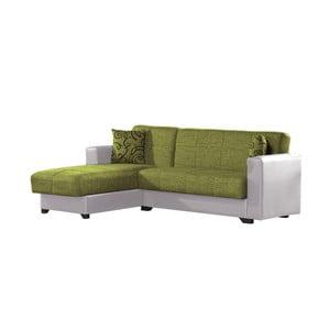 Canapea colț extensibilă cu spaţiu de depozitare, Esidra Chaise Longue, verde - crem